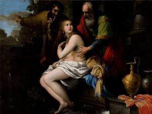 Giovanni Martinelli, Suzanne et les vieillards, huile sur toile, 174 x 233 cm, Amiens, Musée de Picardie © C2RMF/Pierre-Yves Duval