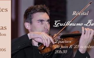 Récital Guillaume Barli :  1ère partie des Sonates et Partitas pour violon seul de JS Bach.