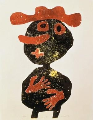 Nez carotte, 1962, lithographie en 4 couleurs par reports d'assemblages, Coll Fondation Dubuffet, Paris ©ADAGP-Paris/SABAM-belgium2020
